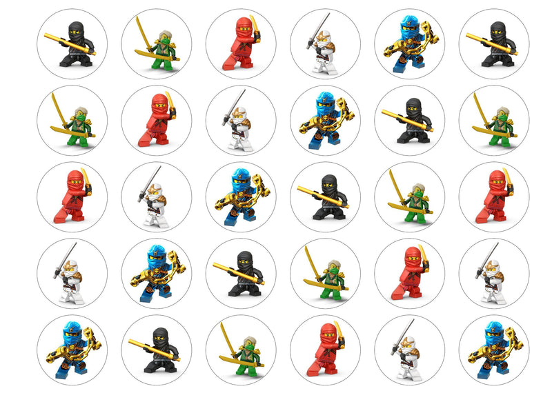 30 edible cupcake toppers with images from Lego Ninjago