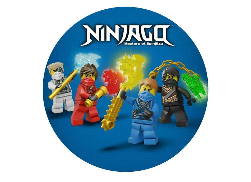 large cake topper with image from Lego Ninjago