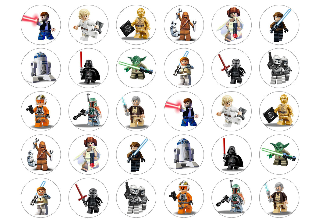 30 edible cupcake toppers with Starwars images