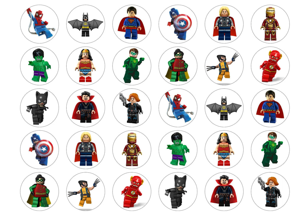 30 edible lego superhero cupcake toppers