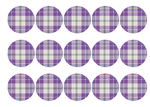 Printed edible cupcake toppers with light purple tartan