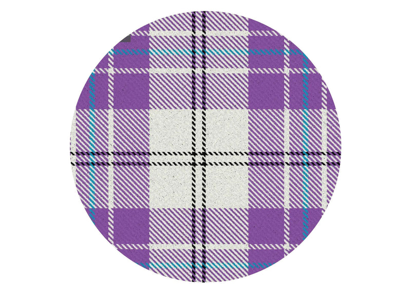 Printed edible cake topper with light purple tartan