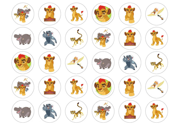 Printed edible cake toppers and cupcake toppers with images from Disney's The Lion Guard