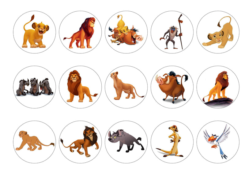 15 printed cupcake toppers with images from the Lion King