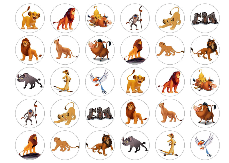 30 edible cupcake toppers with images from the Lion King
