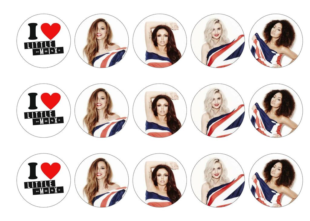 15 printed cupcake toppers with images of the girls from Little Mix