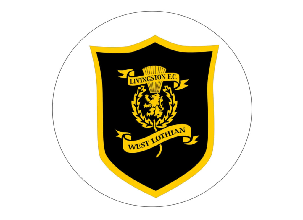 Large 190mm cake topper with the Livingston FC badge