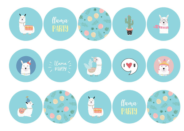 15 printed cupcake toppers with a llama party design