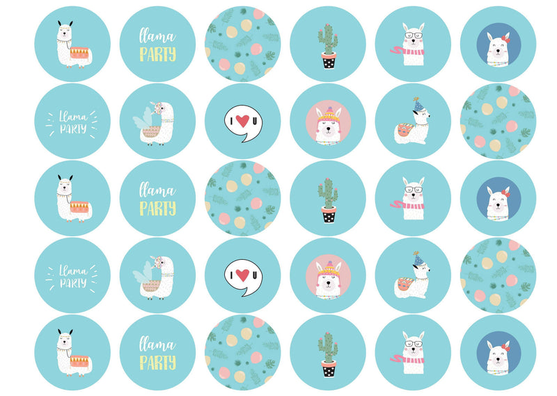 30 edible printed cupcake toppers with llama party images