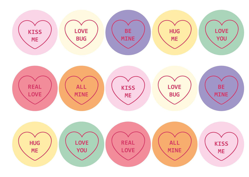 15 edible love heart valentines toppers