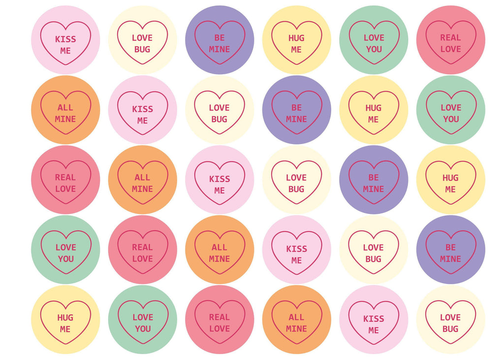 30 love heart valentine toppers