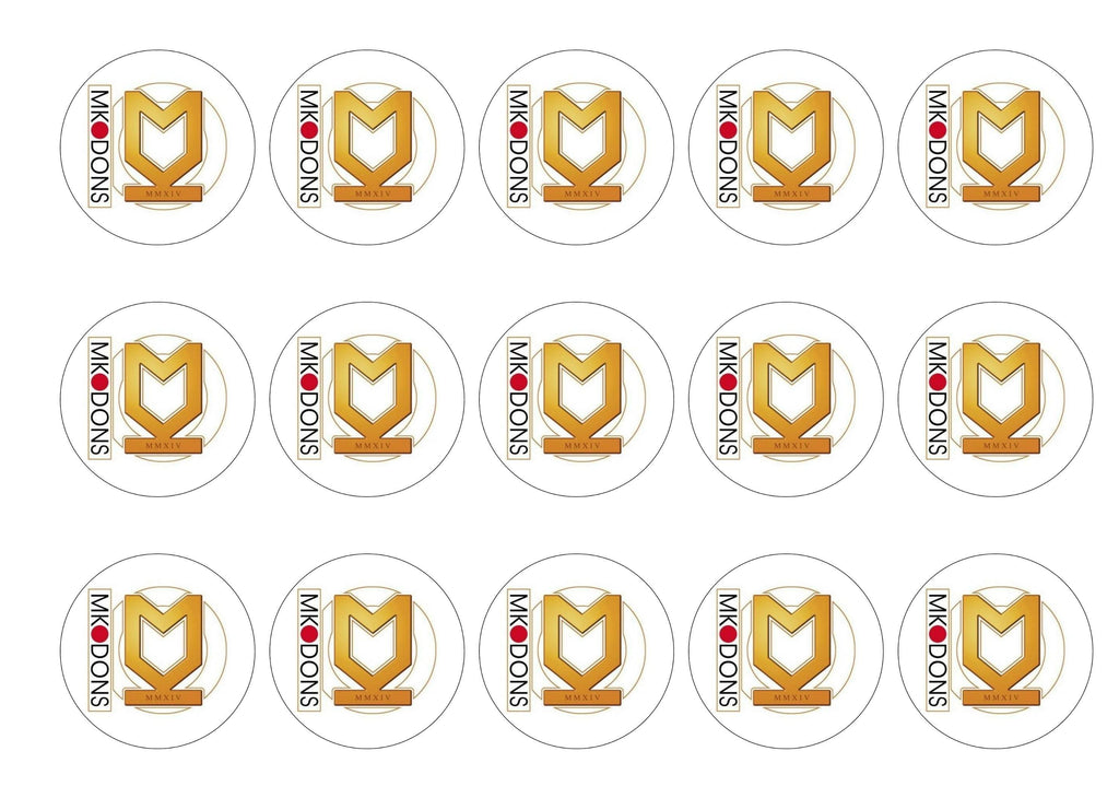 15 printed cupcake toppers with the MK Dons badge