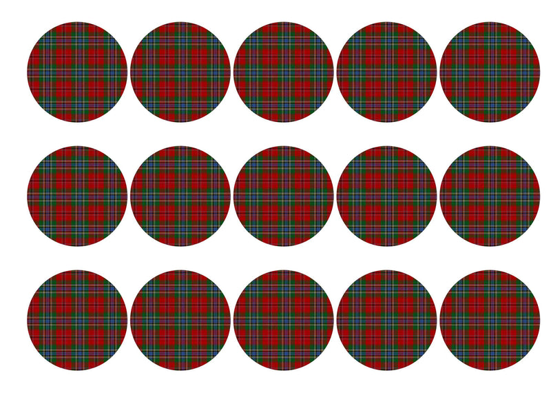 Printed edible cupcake toppers with MacLean tartan