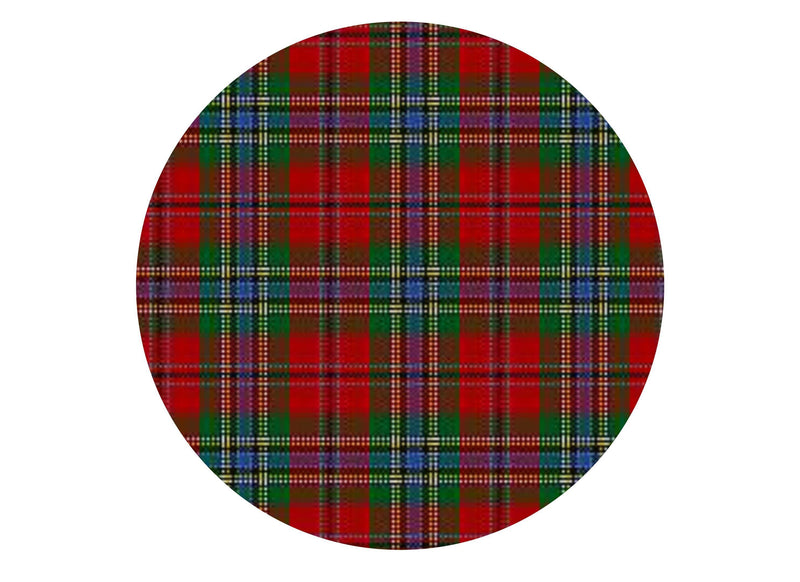 Printed edible cake topper with MacLean tartan
