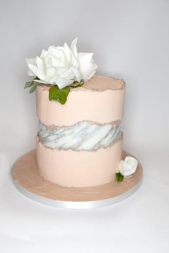 Edible White and rose gold marble A3 cake wrap
