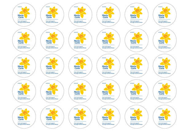 Printed edible charity cupcake and cake toppers to help raise funding for Marie Curie