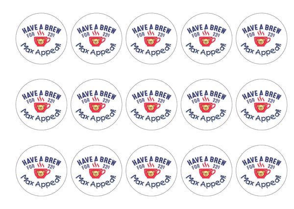 15 printed cupcake toppers for the charity Max Appeal