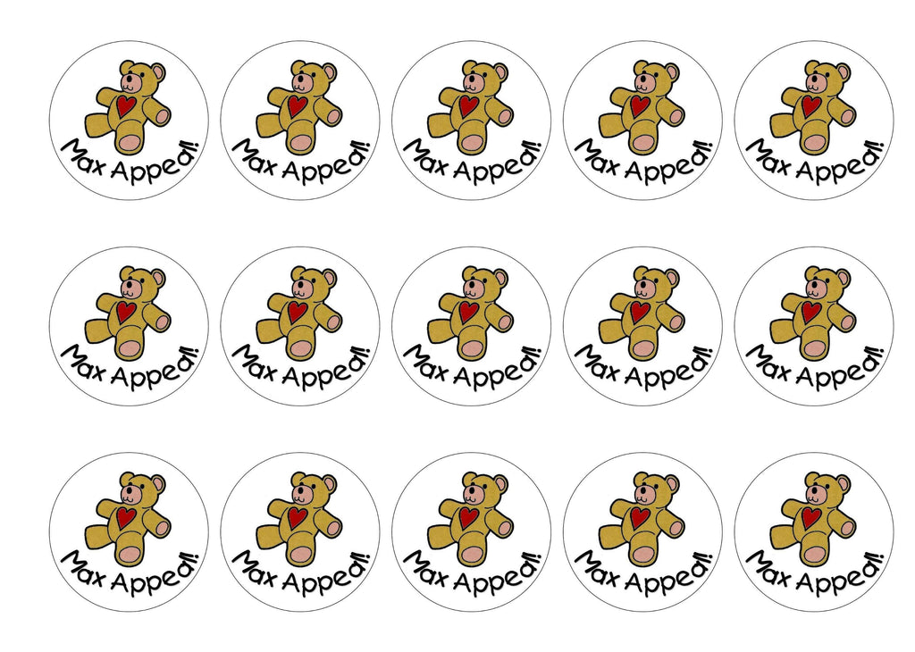 15 printed cupcake toppers with the Max Appeal teddy