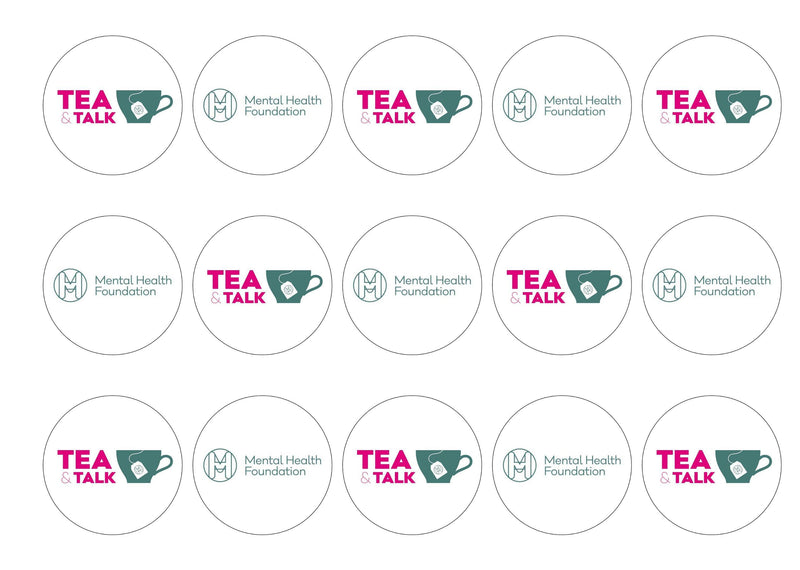 15 printed cake toppers supporting the charity Mental Health Foundation