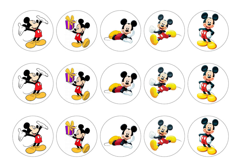 Printed cupcake toppers with Mickey Mouse pictures.