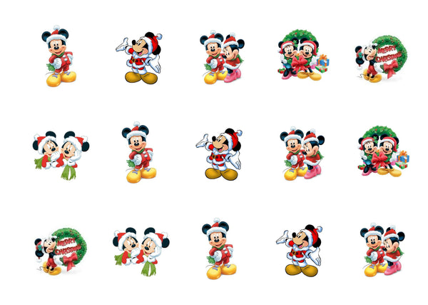 Edible Christmas Mickey Mouse and Minnie Mouse cake toppers and cupcake toppers printed onto rice paper or icing