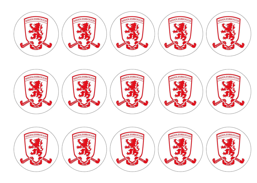 15 printed cupcake toppers with the Boro badge