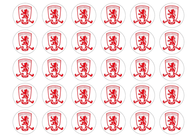 30 edible cupcake toppers with the Middlesbrough badge