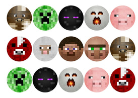 Edible printed cupcake toppers with Minecraft faces