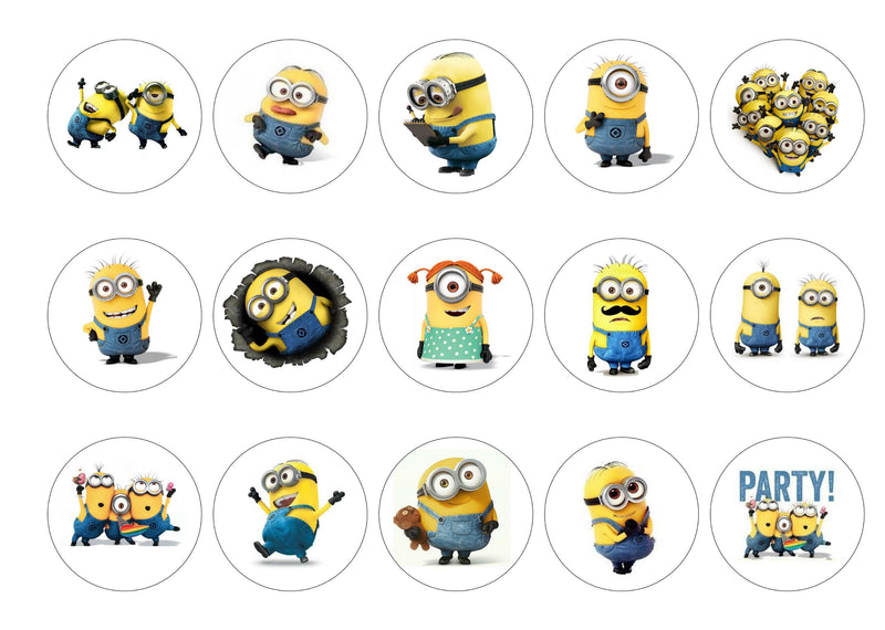 15 printed toppers with pictures of Minions