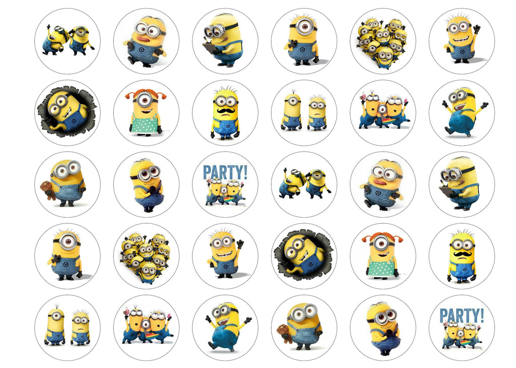 30 edible toppers with pictures of Minions