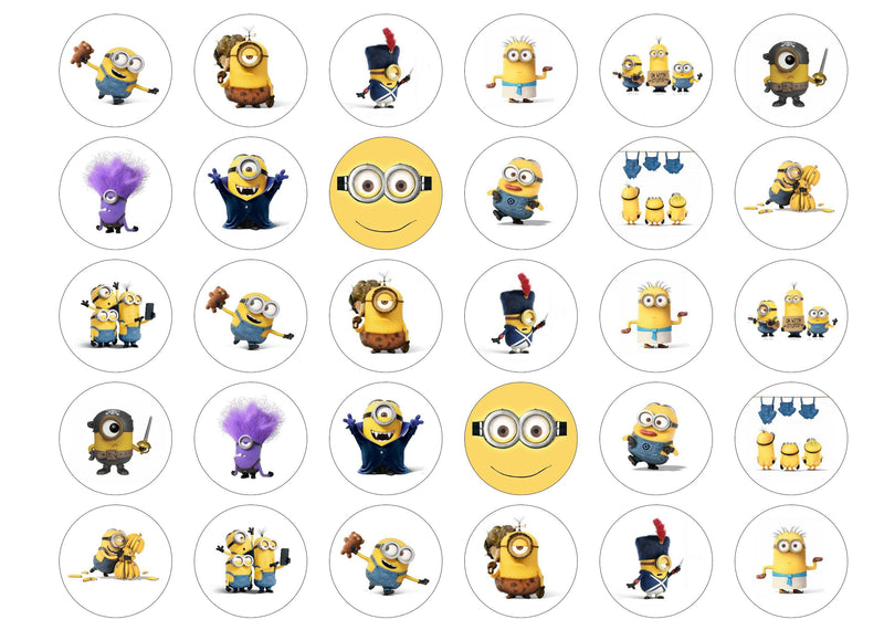 Edible printed cupcake toppers with Minions images