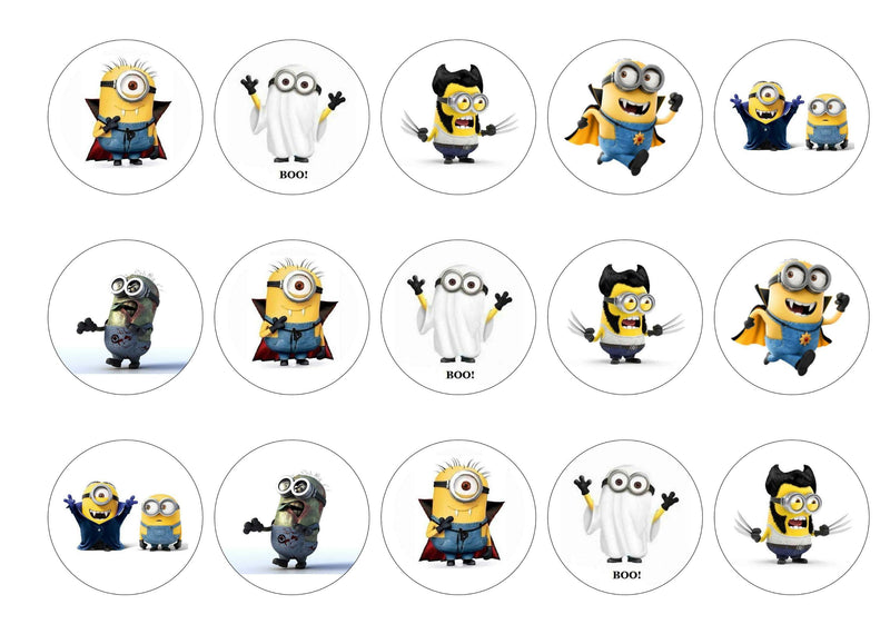 Printed edible cupcake toppers with minions at halloween images