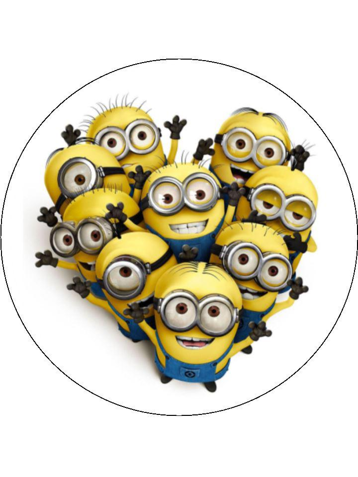 "Large 7.5"" cake topper with a group of Minions"