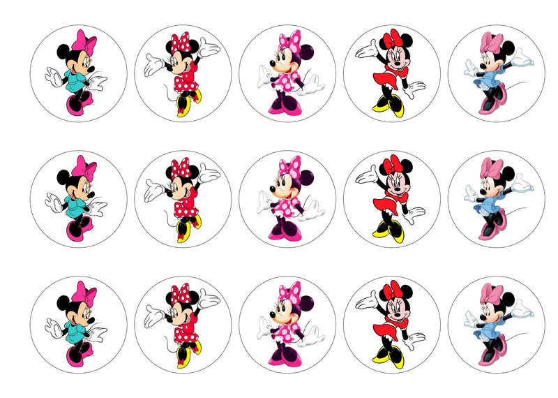 Minnie Mouse printed cupcake toppers