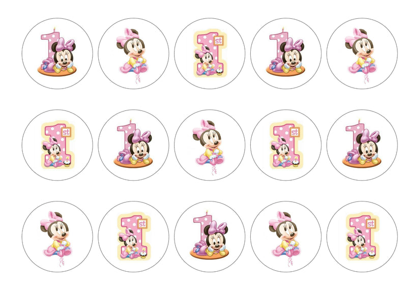 Edible printed cupcake toppers on icing or rice paper with images of minnie mouse - age 1