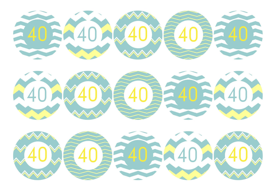 40th Birthday cake toppers - mint green and lemon