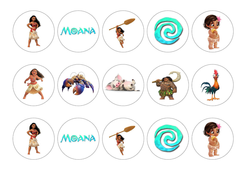 Printed cupcake toppers with pictures from the Disney Film Moana
