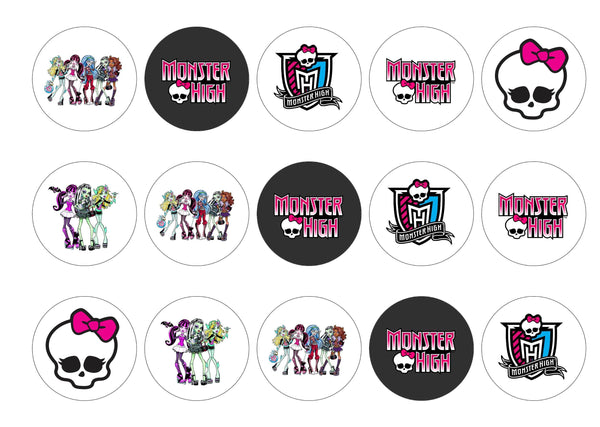 Printed edible cupcake toppers and cake toppers with Monster High Logos