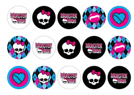 Edible printed cupcake toppers with Monster High images