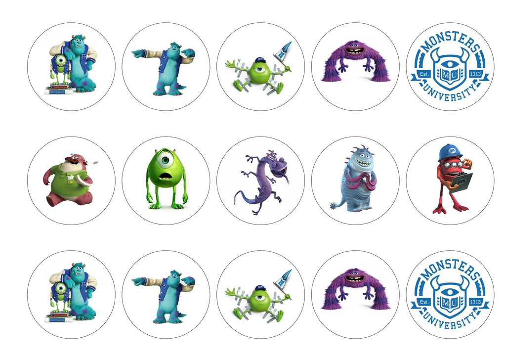 Printed cupcake toppers with images from Monsters Inc