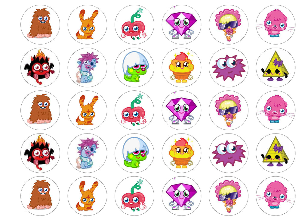 Printed edible cupcake toppers with Moshi Monsters