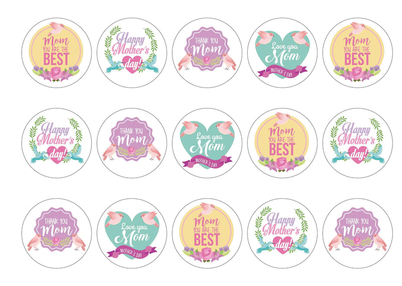 15 Mother's Day cupcake toppers with a bird and flower design