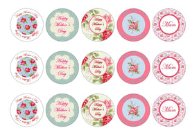 Printed edible cupcake toppers for Mother's Day