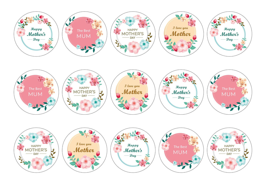 15 Mother's Day cupcake toppers with a pastel floral design