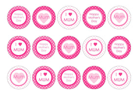 Edible cupcake toppers in pink Mother's Day designs