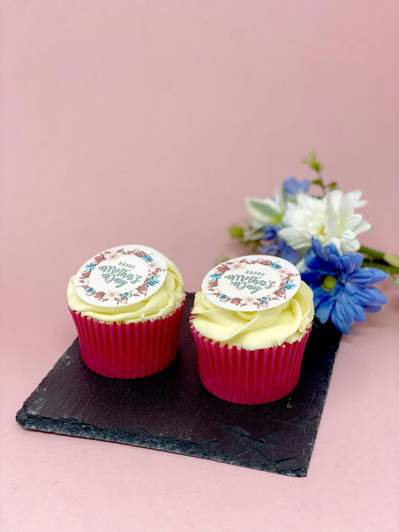 Mother's Day cupcakes with printed rice paper cupcake toppers
