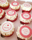 Printed cupcake toppers in pink Mother's Day designs