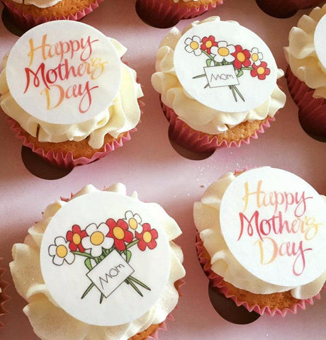 Printed cupcake toppers with a Mother's Day design
