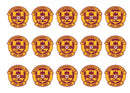 Printed cupcake toppers featuring the Motherwell Badge