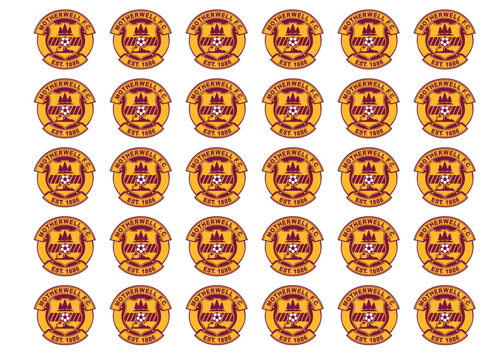 Edible cupcake toppers featuring the Motherwell Badge